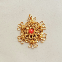 Silver Gilt Pendant with Red Inset