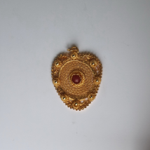 Silver Gilt Pendant Heart with Red Inset