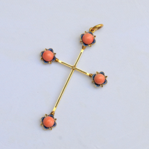 Gold Coral and Enamel Cross