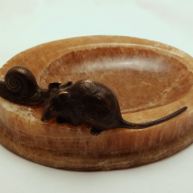 G. Gurschner Ashtray with Bronze Figures of Mouse and Snail