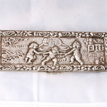 Silver Snuffbox with Playing Cherubs Scene
