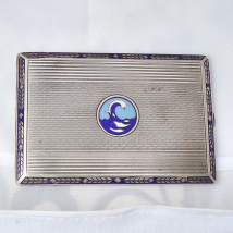 Silver and Blue Enamel Cigarette Case